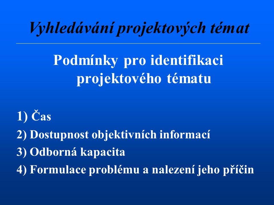 Podmínky pro identifikaci projektového tématu