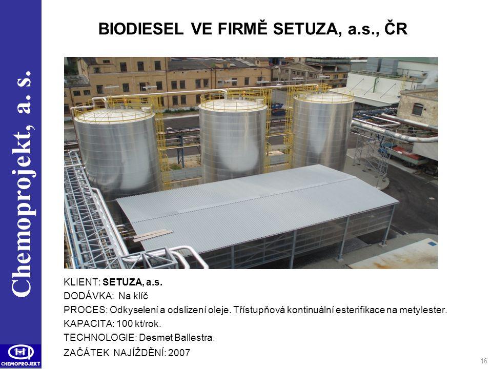 BIODIESEL VE FIRMĚ SETUZA, a.s., ČR