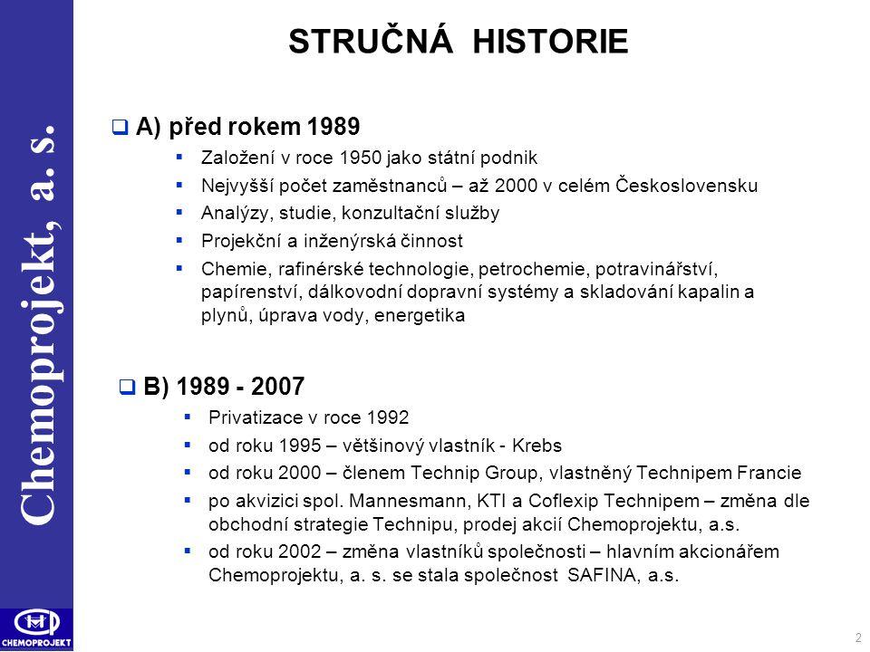 STRUČNÁ HISTORIE A) před rokem 1989 B) 1989 - 2007