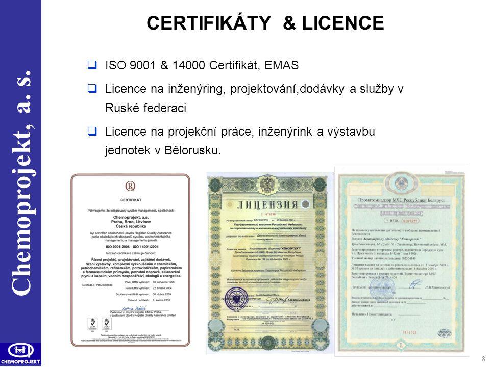 CERTIFIKÁTY & LICENCE ISO 9001 & 14000 Certifikát, EMAS