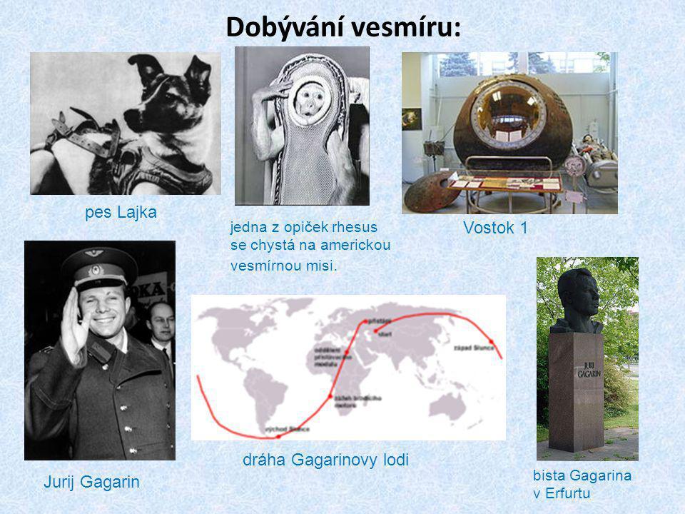 Dobývání vesmíru: pes Lajka Vostok 1 dráha Gagarinovy lodi