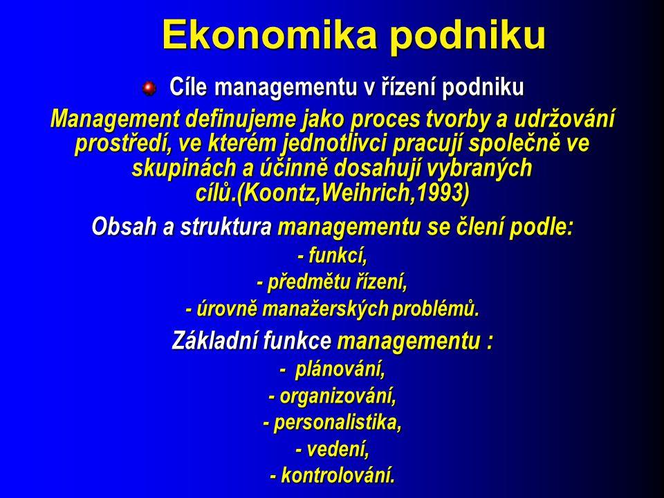 Ekonomika podniku Cíle managementu v řízení podniku