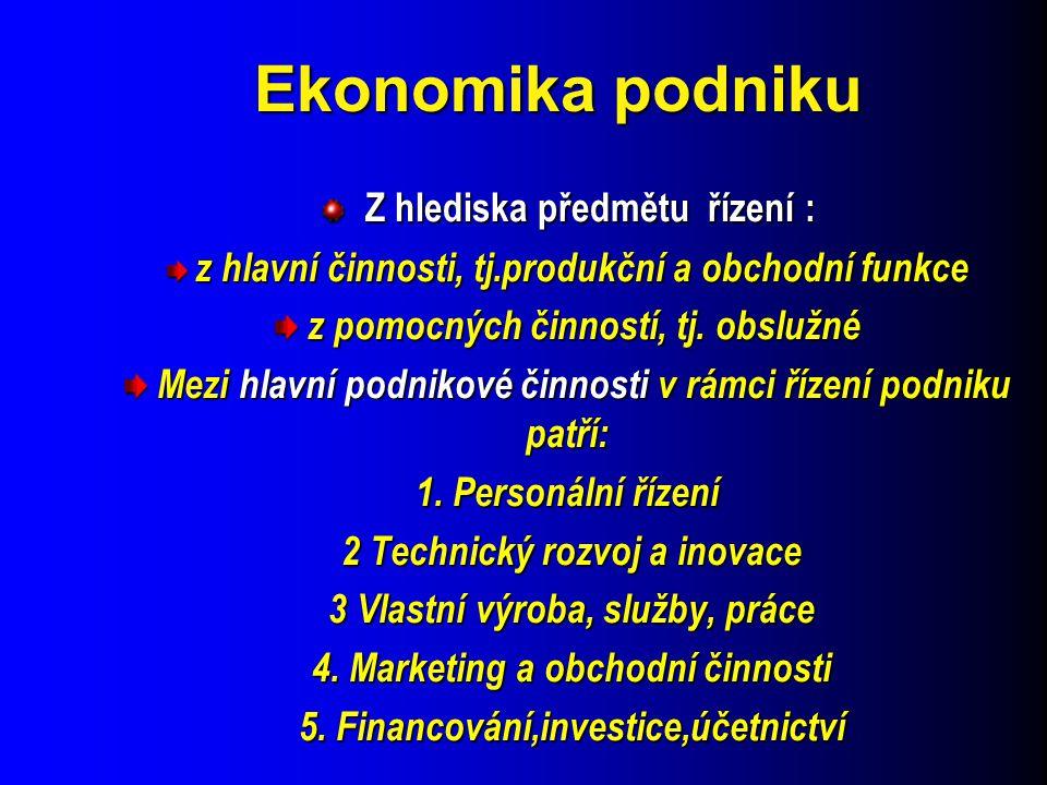 Ekonomika podniku Z hlediska předmětu řízení :
