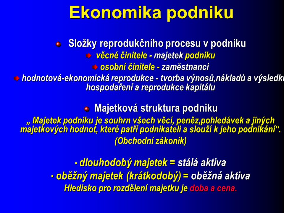 Ekonomika podniku Složky reprodukčního procesu v podniku