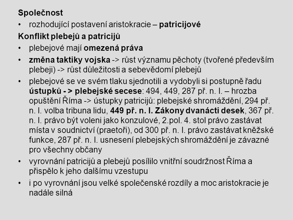 Společnost rozhodující postavení aristokracie – patricijové. Konflikt plebejů a patricijů. plebejové mají omezená práva.