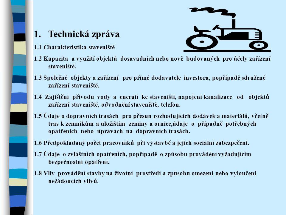 Technická zpráva 1.1 Charakteristika staveniště