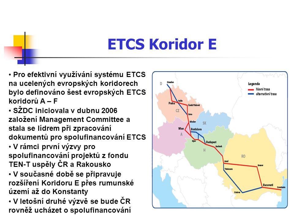 ETCS Koridor E Pro efektivní využívání systému ETCS na ucelených evropských koridorech bylo definováno šest evropských ETCS koridorů A – F.
