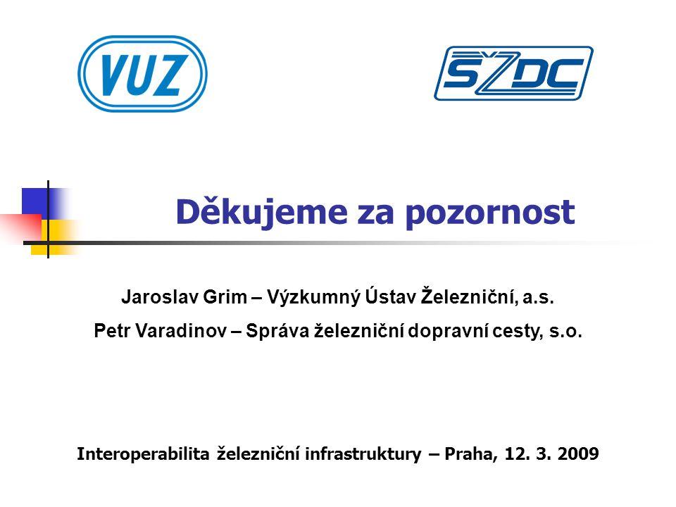 Děkujeme za pozornost Jaroslav Grim – Výzkumný Ústav Železniční, a.s.