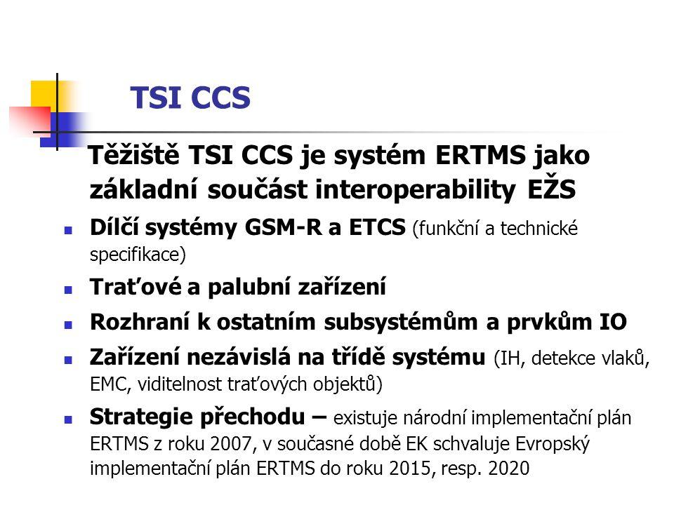 TSI CCS Těžiště TSI CCS je systém ERTMS jako základní součást interoperability EŽS. Dílčí systémy GSM-R a ETCS (funkční a technické specifikace)