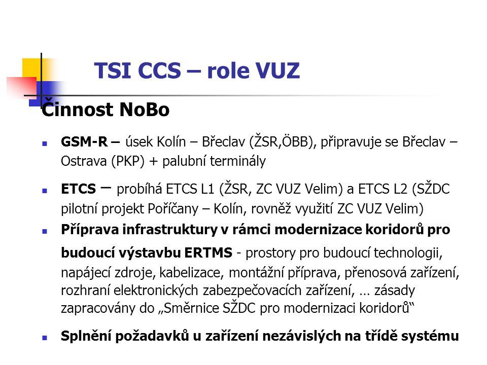 TSI CCS – role VUZ Činnost NoBo
