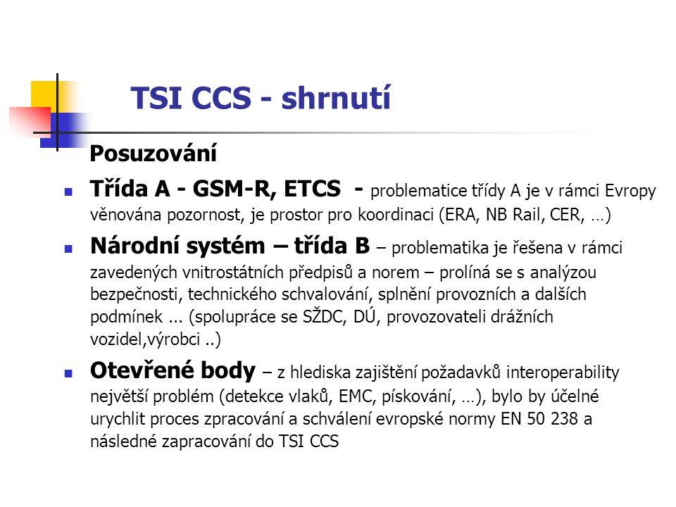 TSI CCS - shrnutí Posuzování