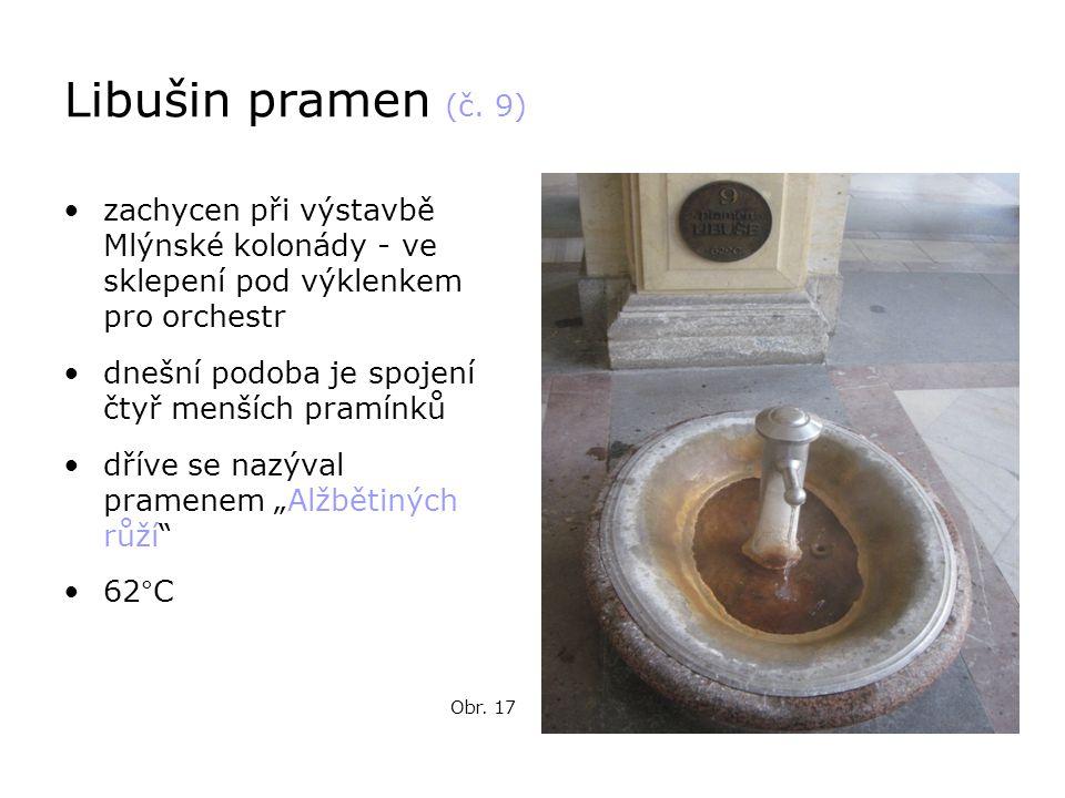 Libušin pramen (č. 9) zachycen při výstavbě Mlýnské kolonády - ve sklepení pod výklenkem pro orchestr.