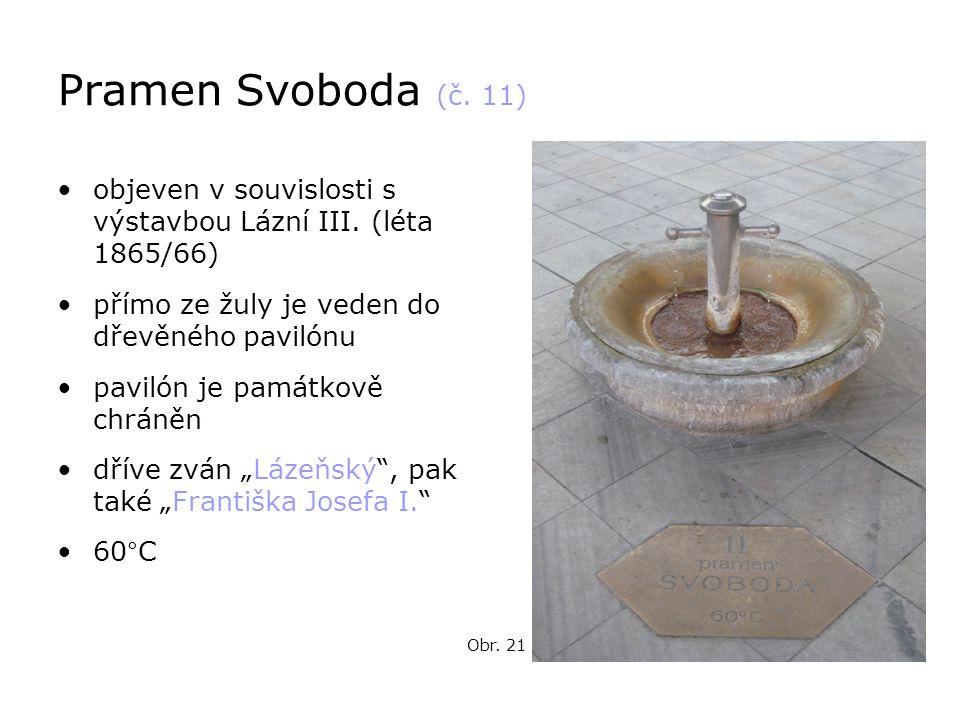 Pramen Svoboda (č. 11) objeven v souvislosti s výstavbou Lázní III. (léta 1865/66) přímo ze žuly je veden do dřevěného pavilónu.