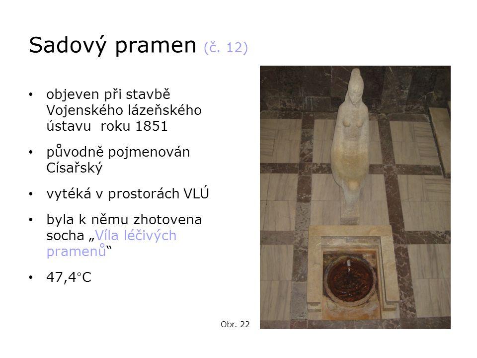 Sadový pramen (č. 12) objeven při stavbě Vojenského lázeňského ústavu roku 1851. původně pojmenován Císařský.