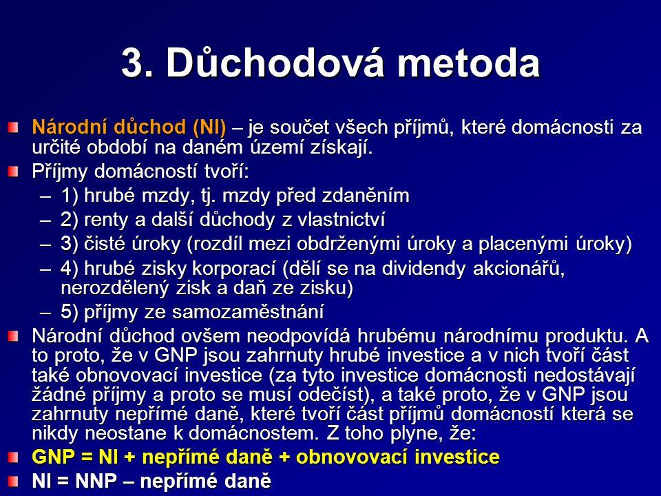 3. Důchodová metoda Národní důchod (NI) – je součet všech příjmů, které domácnosti za určité období na daném území získají.
