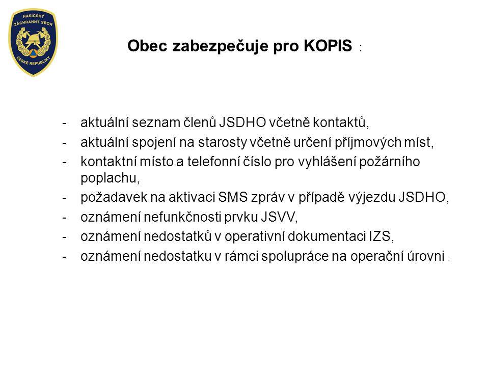 Obec zabezpečuje pro KOPIS :
