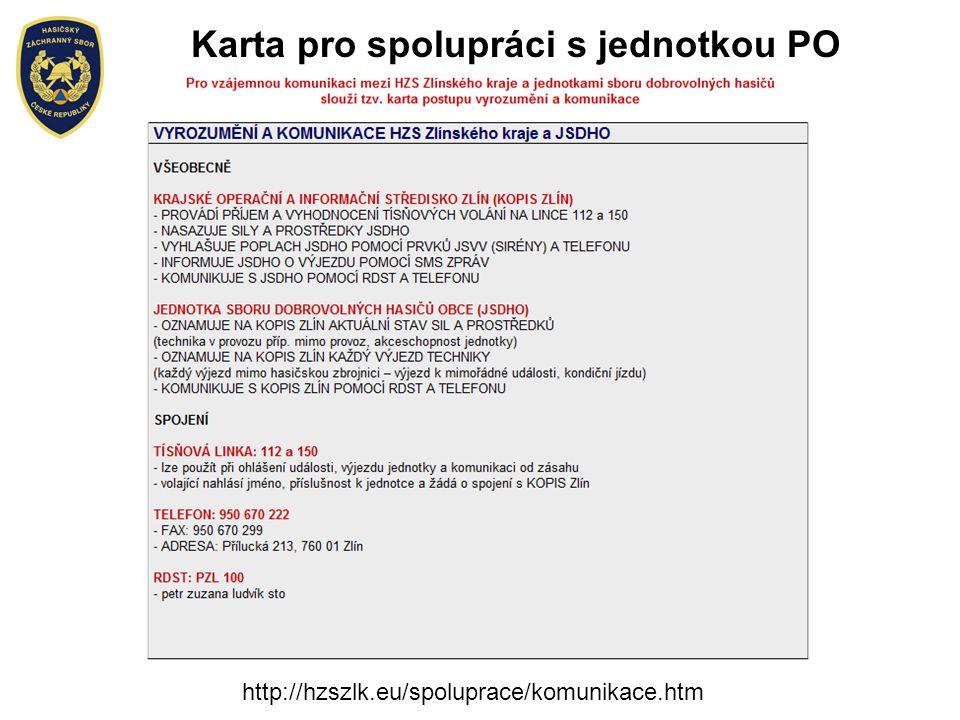 Karta pro spolupráci s jednotkou PO