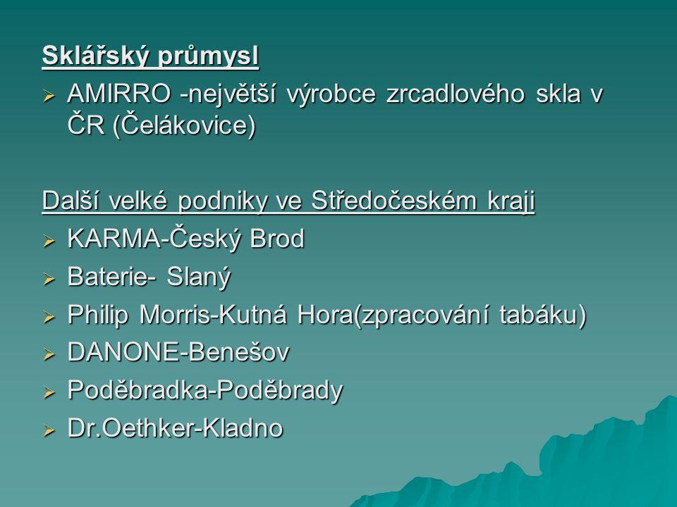 Sklářský průmysl AMIRRO -největší výrobce zrcadlového skla v ČR (Čelákovice) Další velké podniky ve Středočeském kraji.
