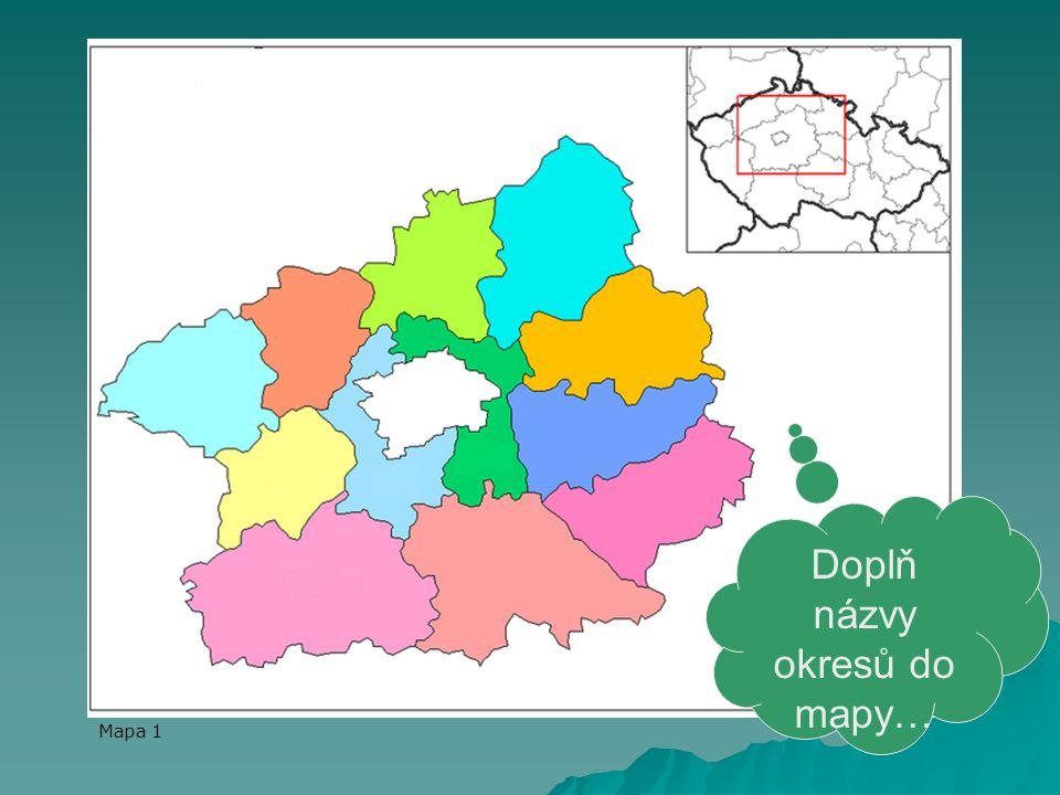 Doplň názvy okresů do mapy…