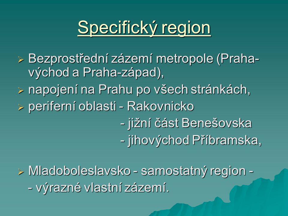 Specifický region Bezprostřední zázemí metropole (Praha-východ a Praha-západ), napojení na Prahu po všech stránkách,