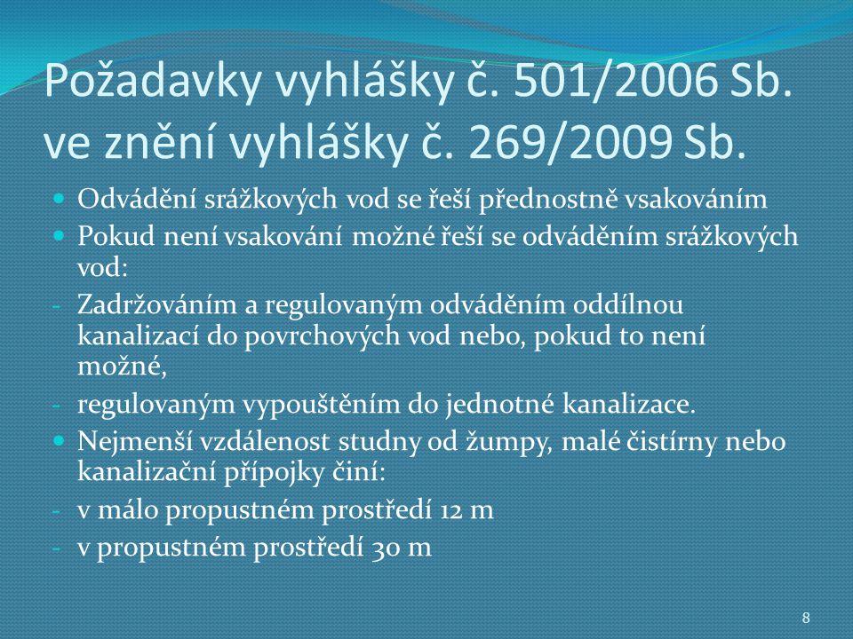 Požadavky vyhlášky č. 501/2006 Sb. ve znění vyhlášky č. 269/2009 Sb.