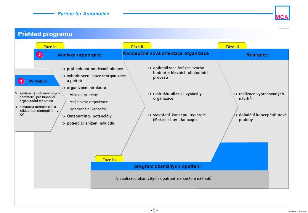 Koncepčně nová orientace organizace program okamžitých opatření