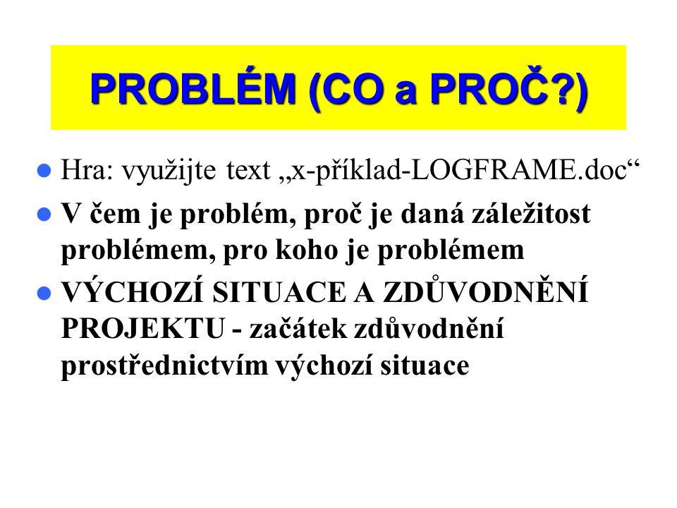 """PROBLÉM (CO a PROČ ) Hra: využijte text """"x-příklad-LOGFRAME.doc"""
