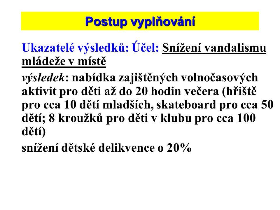 Postup vyplňování Ukazatelé výsledků: Účel: Snížení vandalismu mládeže v místě.