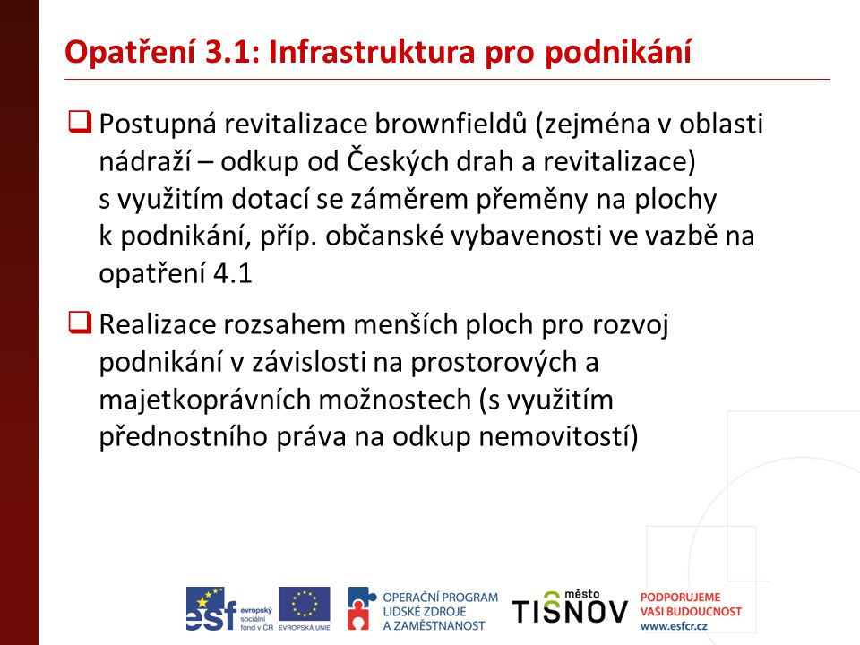 Opatření 3.1: Infrastruktura pro podnikání