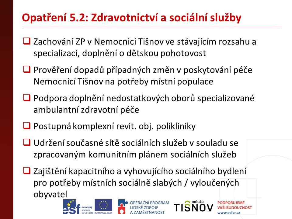 Opatření 5.2: Zdravotnictví a sociální služby