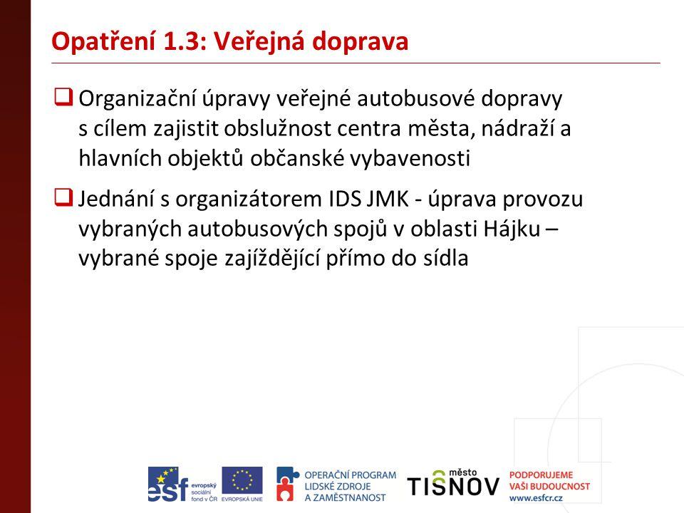 Opatření 1.3: Veřejná doprava