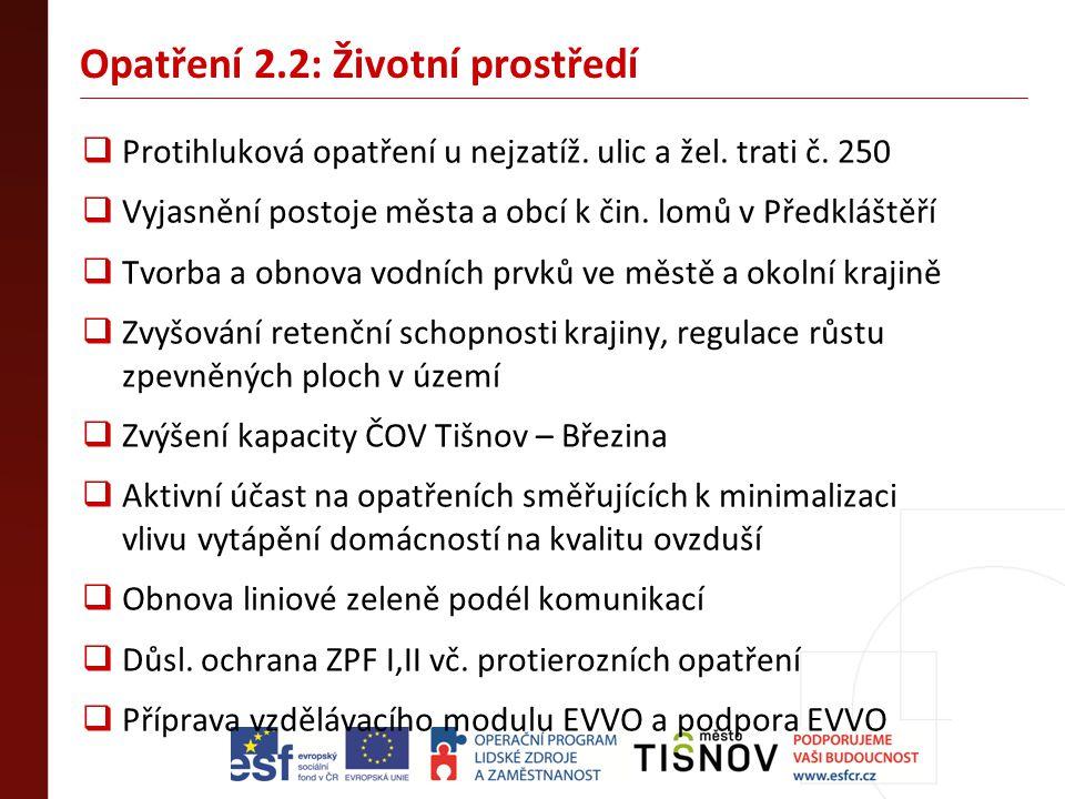 Opatření 2.2: Životní prostředí