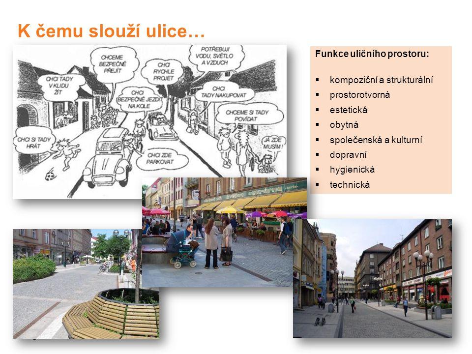 K čemu slouží ulice… Funkce uličního prostoru: