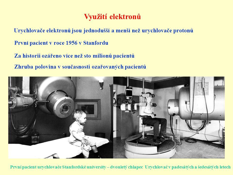 Využití elektronů Urychlovače elektronů jsou jednodušší a menší než urychlovače protonů. První pacient v roce 1956 v Stanfordu.