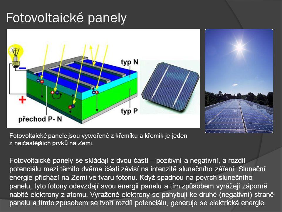 Fotovoltaické panely Fotovoltaické panele jsou vytvořené z křemíku a křemík je jeden z nejčastějších prvků na Zemi.