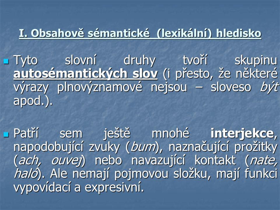 I. Obsahově sémantické (lexikální) hledisko