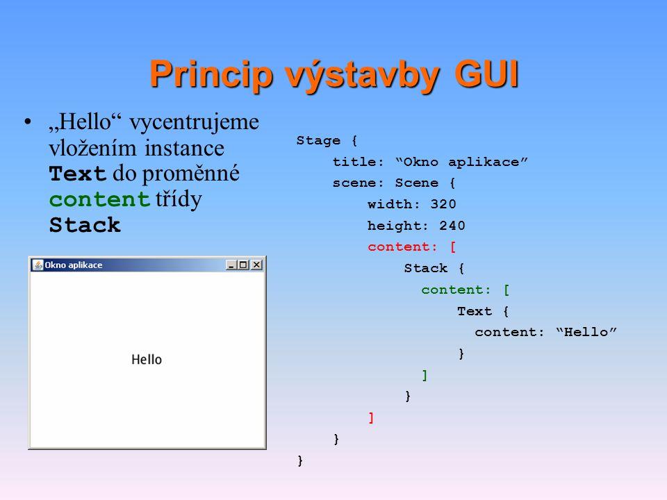 """Princip výstavby GUI """"Hello vycentrujeme vložením instance Text do proměnné content třídy Stack. Stage {"""