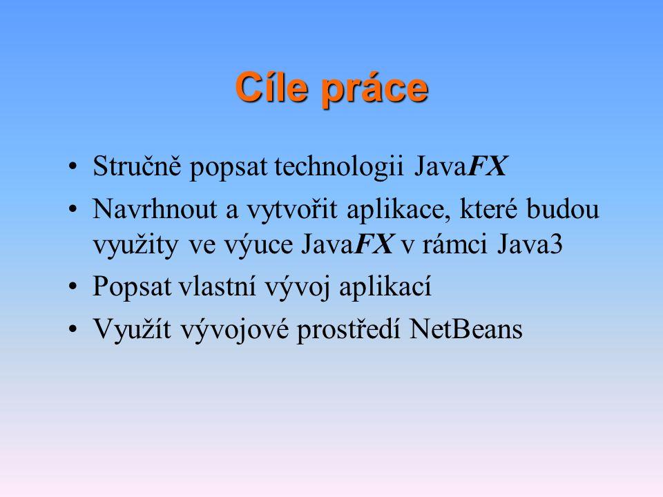 Cíle práce Stručně popsat technologii JavaFX