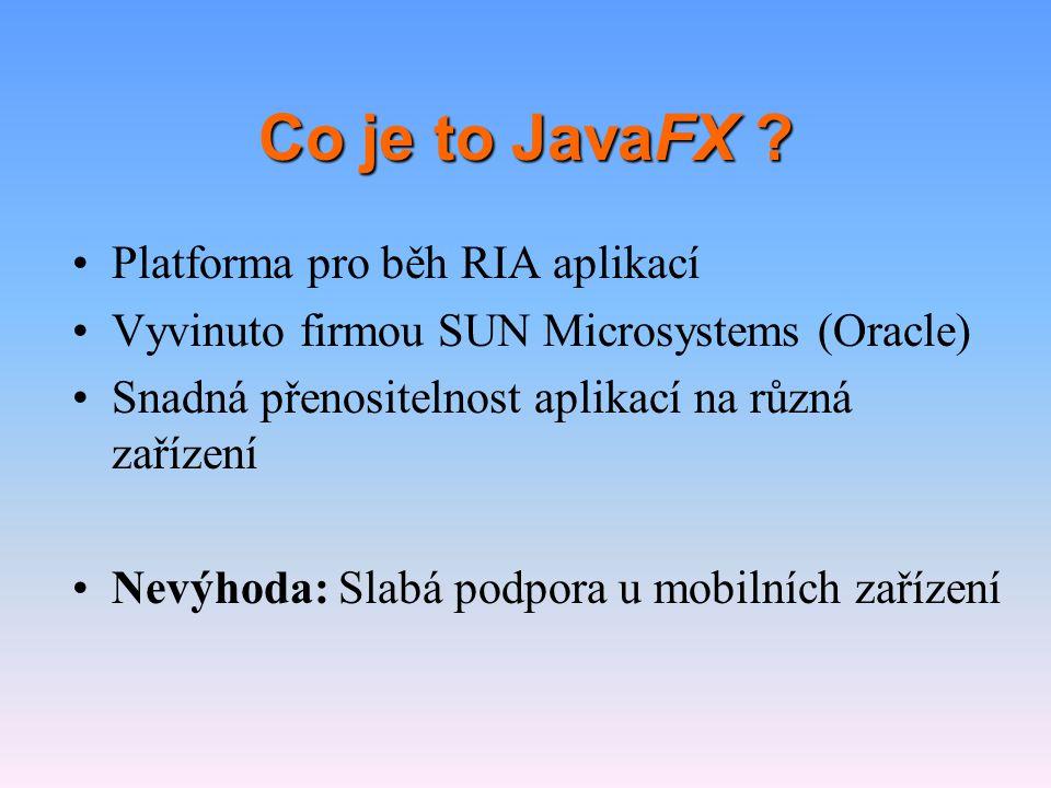 Co je to JavaFX Platforma pro běh RIA aplikací