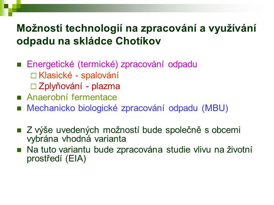 Možnosti technologií na zpracování a využívání odpadu na skládce Chotíkov