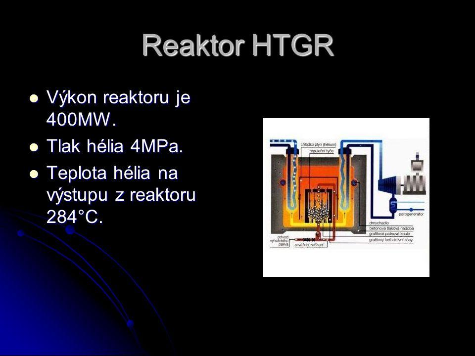 Reaktor HTGR Výkon reaktoru je 400MW. Tlak hélia 4MPa.