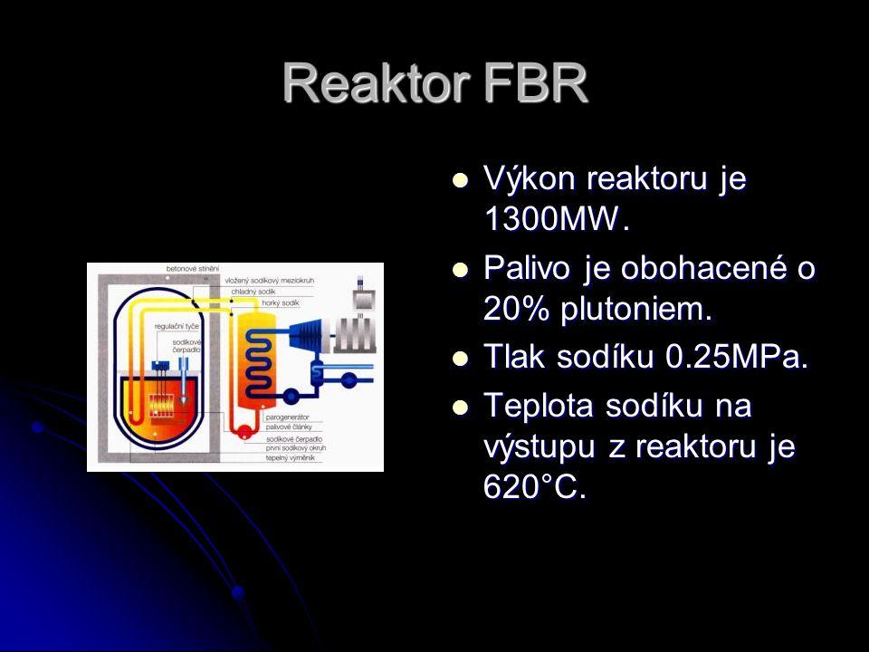 Reaktor FBR Výkon reaktoru je 1300MW.