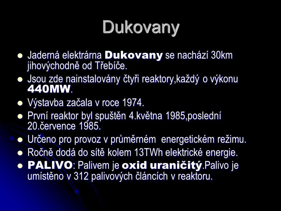 Dukovany Jaderná elektrárna Dukovany se nachází 30km jihovýchodně od Třebíče. Jsou zde nainstalovány čtyři reaktory,každý o výkonu 440MW.