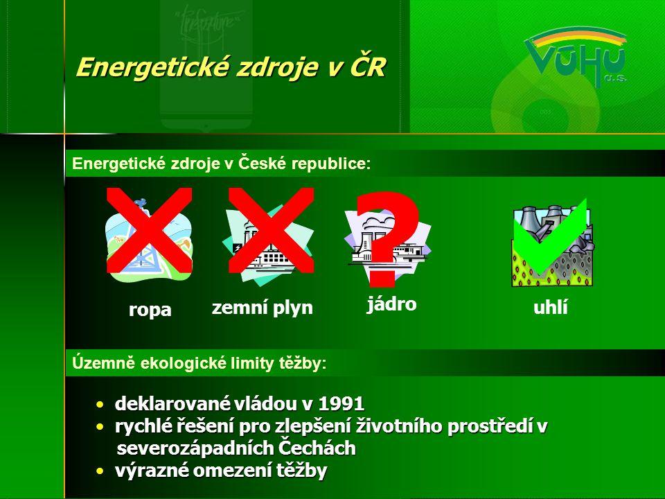    Energetické zdroje v ČR ropa zemní plyn jádro uhlí