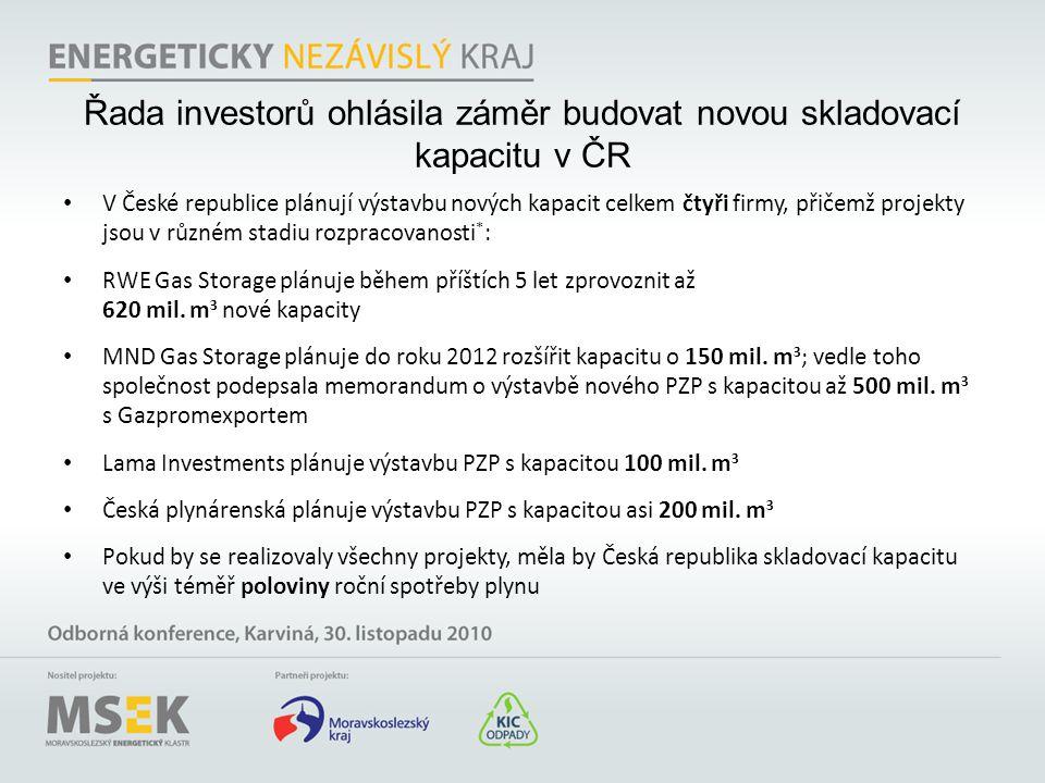 Řada investorů ohlásila záměr budovat novou skladovací kapacitu v ČR