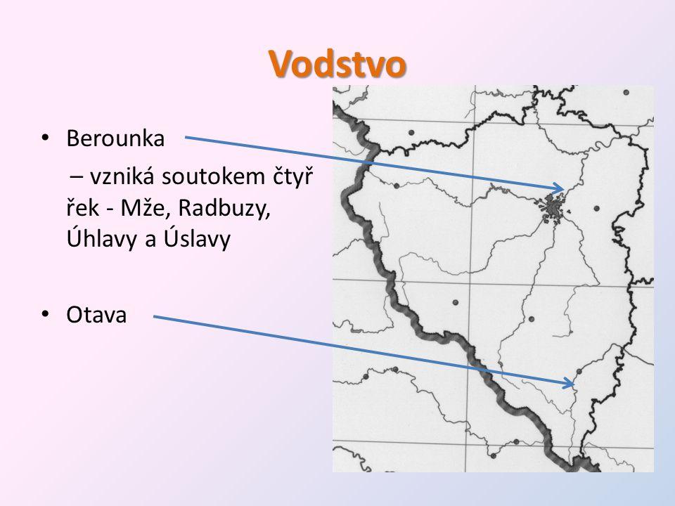 Vodstvo Berounka – vzniká soutokem čtyř řek - Mže, Radbuzy, Úhlavy a Úslavy Otava