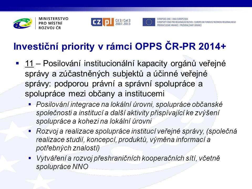 Investiční priority v rámci OPPS ČR-PR 2014+