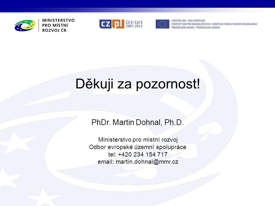 Děkuji za pozornost! PhDr. Martin Dohnal, Ph.D.