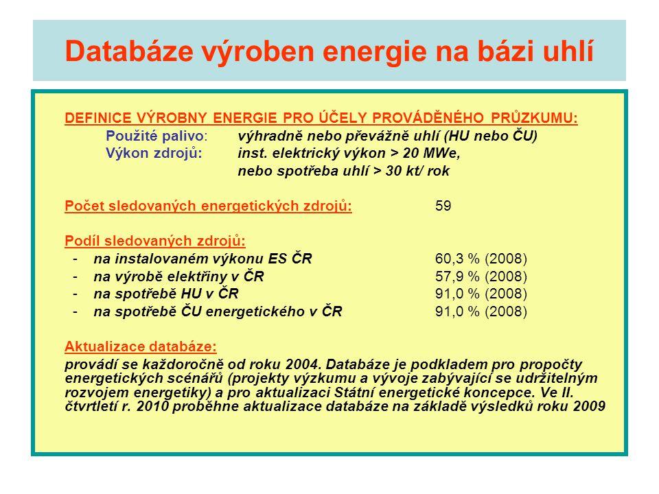 Databáze výroben energie na bázi uhlí