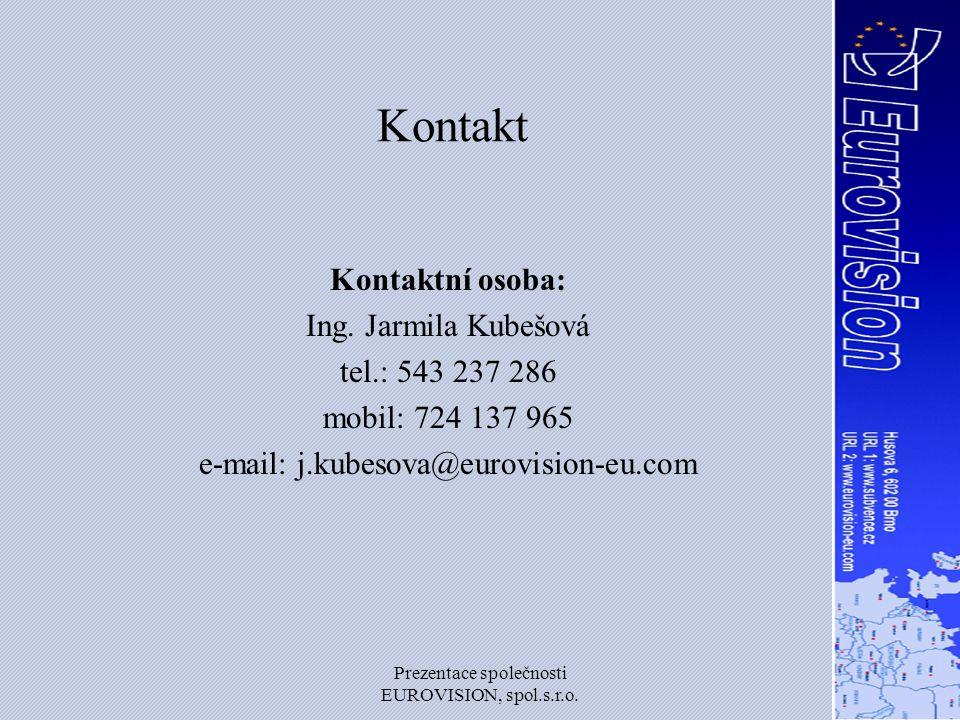 Kontakt Kontaktní osoba: Ing. Jarmila Kubešová tel.: 543 237 286